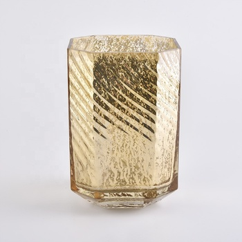 gold mercury hexagonal glass candle holders