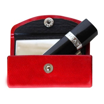 private label cosmetic luxury leather lipstick box logo with mirror