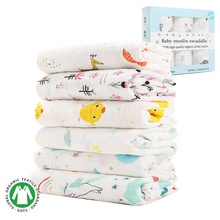 Hot sale Custom print 100% natural cotton baby swaddle newborn blankets muslin swaddles