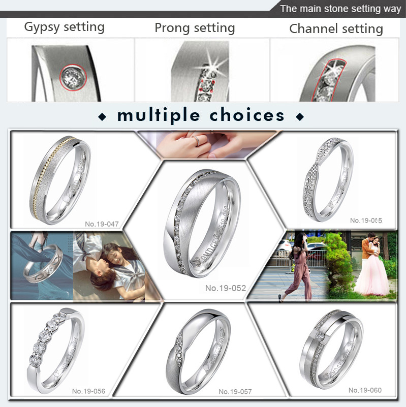 fashion jewelry brass couple ring lover's bands for engagement ring type