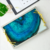 Ocean design blue metal tempered glass decorative tray for home decor