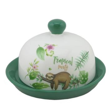sloth Porcelain 6 inch Round Butter Dish with Lid