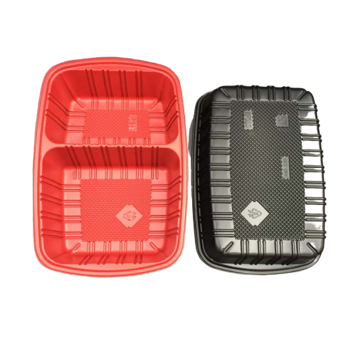 2 compartment disposable <strong>Plastic</strong> red inside black outside food container