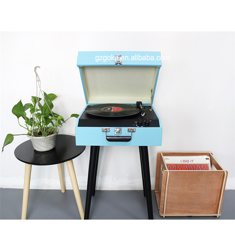 Standing style gramophone record player vinyl turntable player 3 speeds with speakers