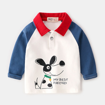 Baby Boys Polo T-Shirt Buttons Long Sleeve Button Down Cotton Shirts Cartoon Tops