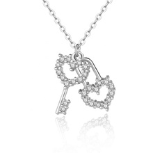 925 Silver Pave with CZ Stone <strong>Key</strong> and Heart Lock Shaped Pendant Necklace