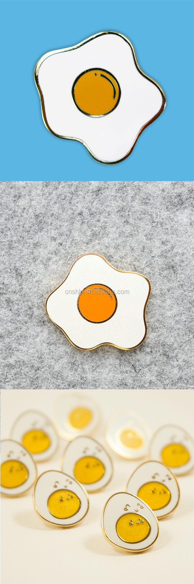 China factory wholesale gold plated funny egg enamel badge pins