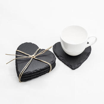 Special Heart shape slate placemats hotel natural black slate stone coasters