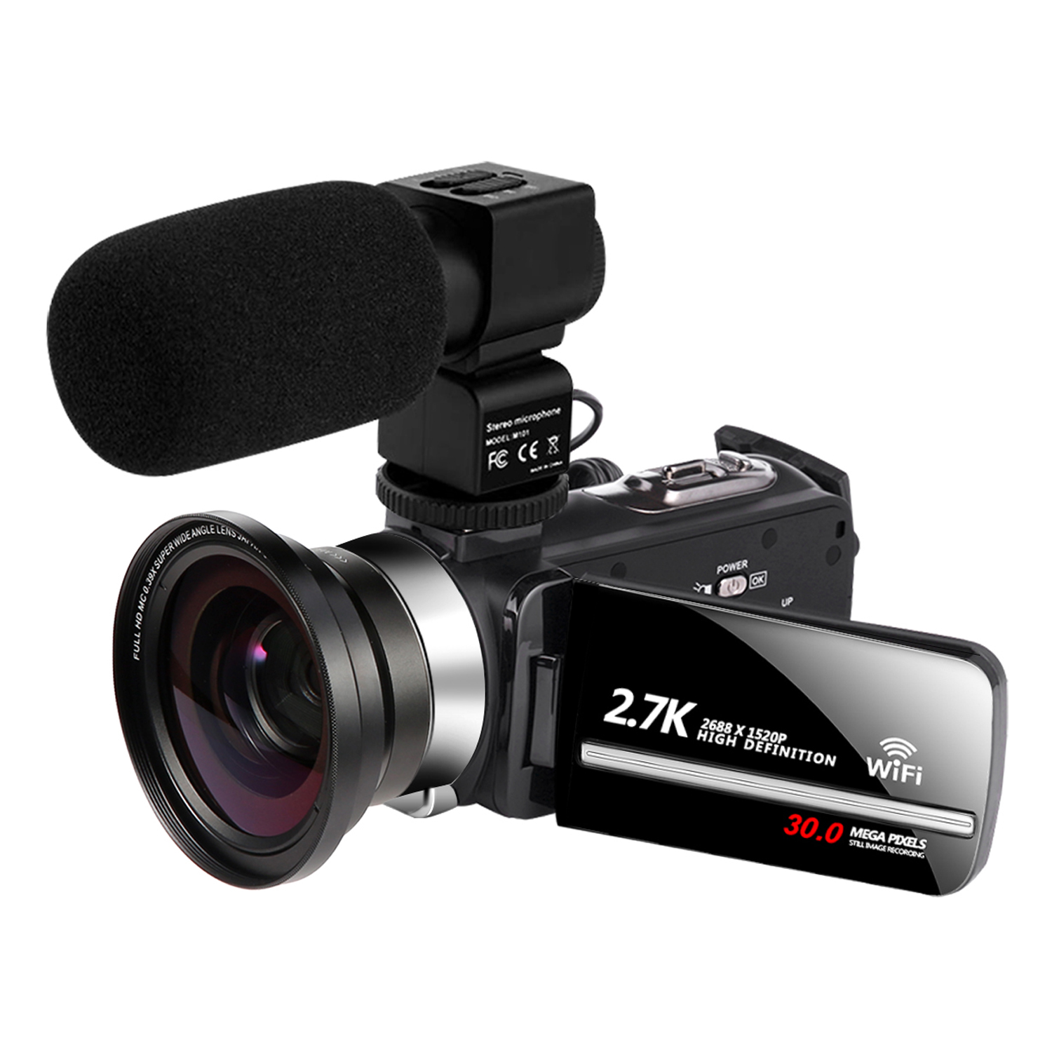 2.7K Video Camcorder for YouTube Vlogging WiFi Camera 30MP 3.0 inch <strong>Touch</strong> <strong>Screen</strong> 16X Digital ZOOM 1080P Digital Video Camera