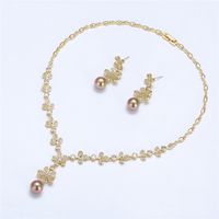 YSset-295 xuping luxury gold women fashion wedding jewelry, pearl design flower style bridal jewelry set