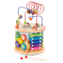 New shape hot sale educational toy Multifunction wooden activity cube toy five side wire winding bead <strong>game</strong>