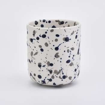 Newly white and black decorative candle vessel ceramic candle holder