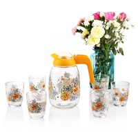 2017New design 7pcs decal printed glass drinking jug set with 1 jug & 6 glasses cup/water&juice pitcher set with plastic lip