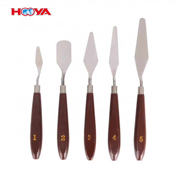 5 pcs Natural Wood Handle Stainless Steel oil painting palette knife for oil, acrylic painting
