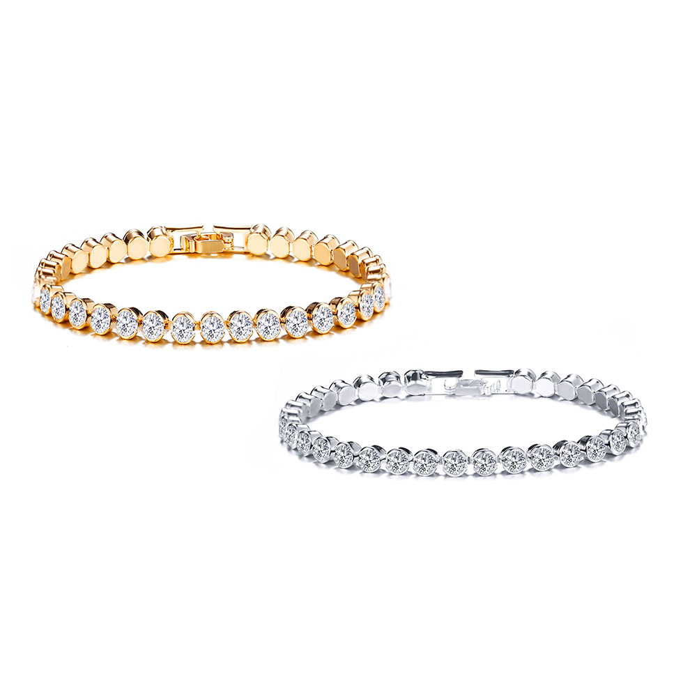 Fashion Design Single Row Stainless <strong>Steel</strong> with Coating Crystal Diamond Jewelry Bracelet for Women