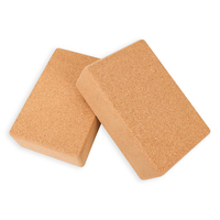Wholesale cheap custom printed private label eco friendly recycled natural cork wooden thick non slip yoga block and bricks