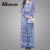 Blue tile print long sleeve pleated elegant muslim women long dress