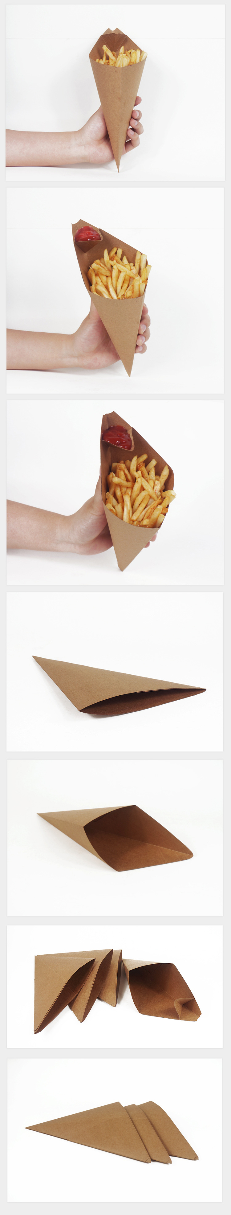 Custom Printed Food Cardboard Paper French Fries Cone Box with Sauce