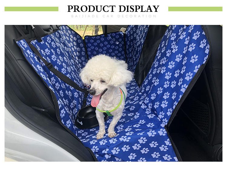 Easy Clean Durable Blue Dog Car Hammock With Pet Safety Belt