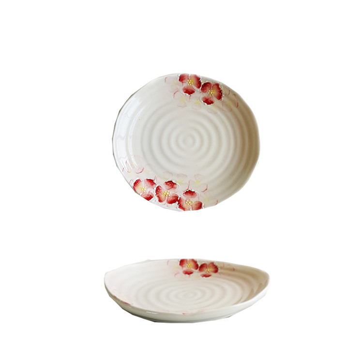 Antique japanese style cheap price food safe 8 inch ceramic plate for food serving