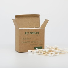 200pcs cardboard paper box eco-friendly bamboo stick cotton q tip ear buds