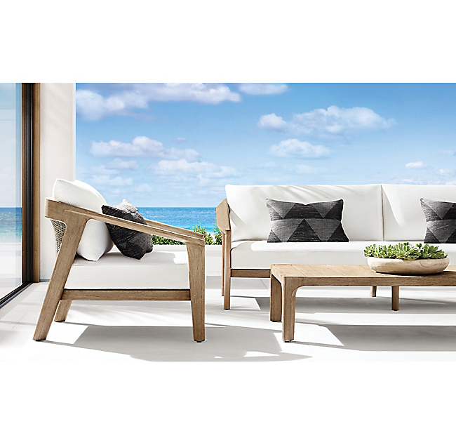 Mix material luxury teak furniture outdoor rattan and wooden double sofa