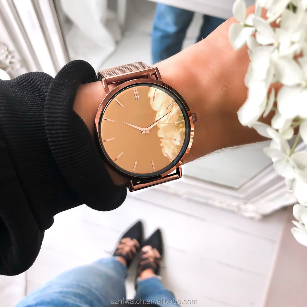 New Design Watch Customized Personalized Mirror Women Wrist Watch