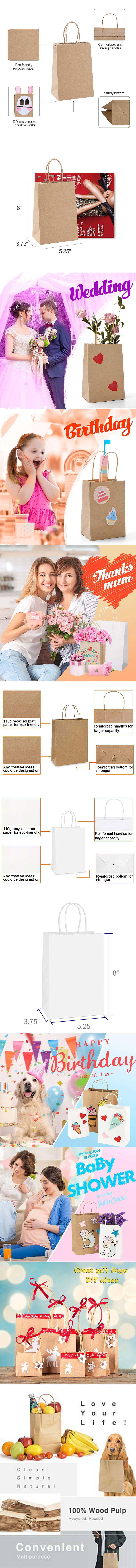 Custom print brown kraft paper bag from China manufacturer