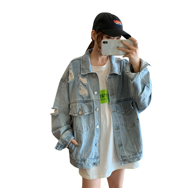 Autumn Korean 2019 New Fashion <strong>Hole</strong> Loose Student Long-Sleeved Denim Jacket