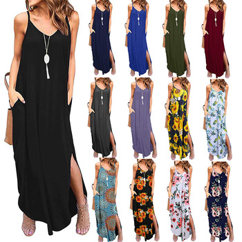 Z91405A Factory Long Sleeve Cotton Maxi Dress Casual Clothing Autumn Dress