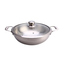 Double side handle stainless steel wok fry pan for cooking
