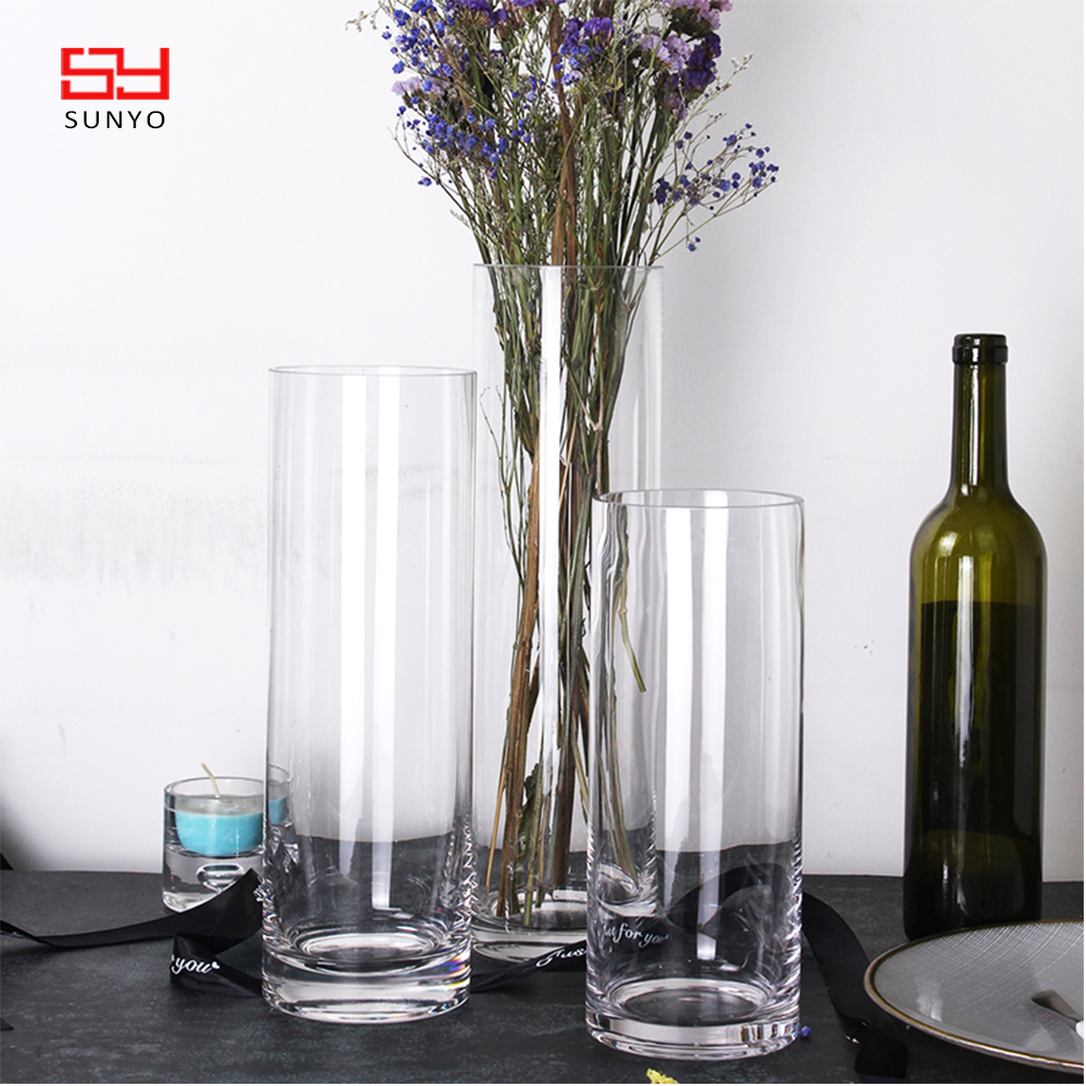 2019 groothandel Home decor goedkope crystal clear tall cilinder glazen bloemenvaas