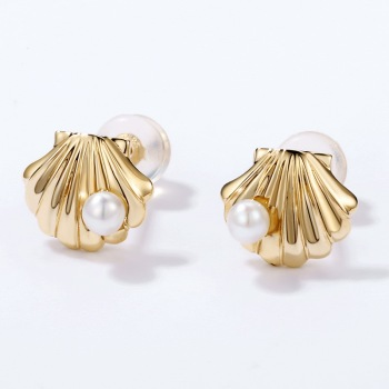 Orelia Clam Seashell Fresh Pearl Design Stud Earrings Jewelry Solid Gold 14k Earring