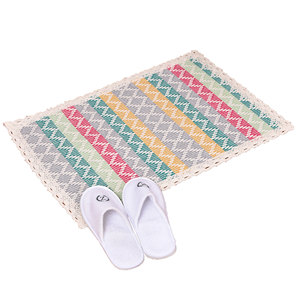 Chinese factory supply colorful serging geometric carpet custom hotel home car floor mat cotton woven checked plaid rug