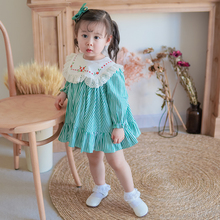 Toddler clothing long sleeve stripes flower embroidery baby <strong>girl's</strong> <strong>dress</strong>