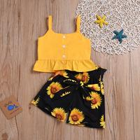 2019 Kids Girls Summer Clothes Sets Sleeveless Button Tops +Bowknot Belt Shorts 2pcs Suit Kids Baby Girl Sunflower Clothes