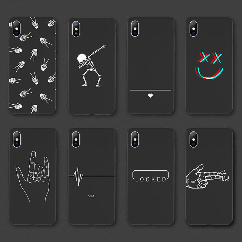 Fashion Line art painting Pattern Phone Case For iPhone11PRO <strong>11</strong> X XS XR XS Max 8 7Plus 6 6S Plus Black simple scrub Back Cover