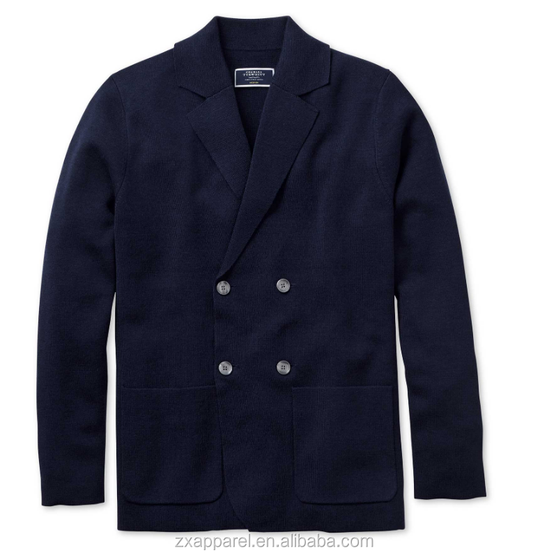 Custom wholesale Navy merino wool double breasted blazer for men