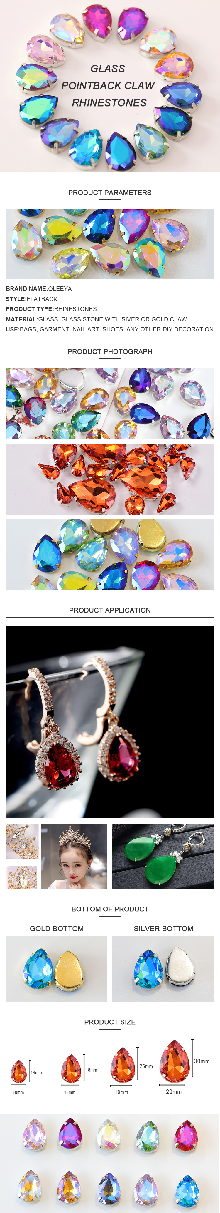 New Arrival Tourmaline Glass Teardrop Sew on Claw Setting Rhinestones Waterdrop Stone with Claw for Garment Accessories