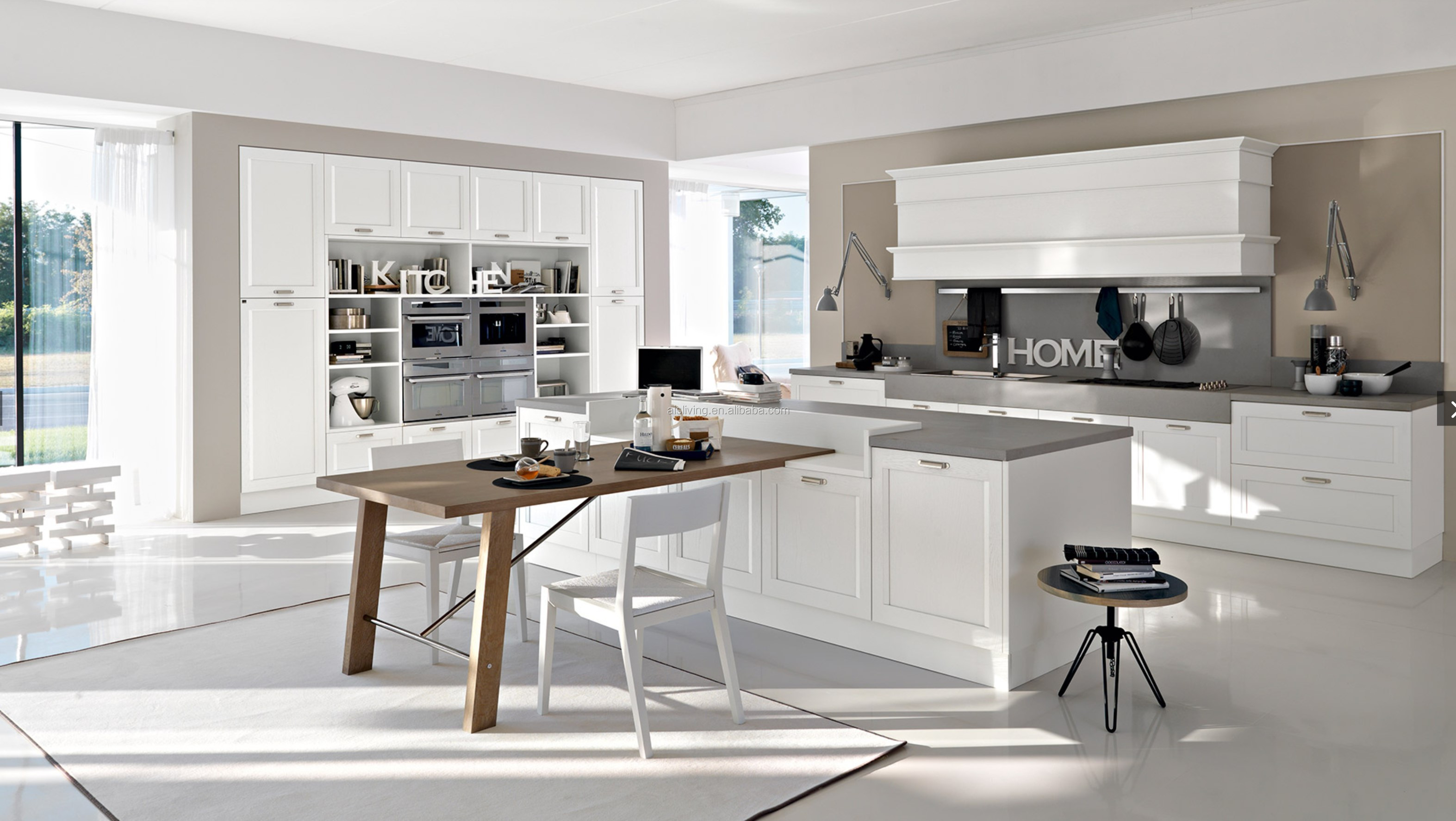 Modern high gloss grey lacquer kitchen cabinet, View grey ...