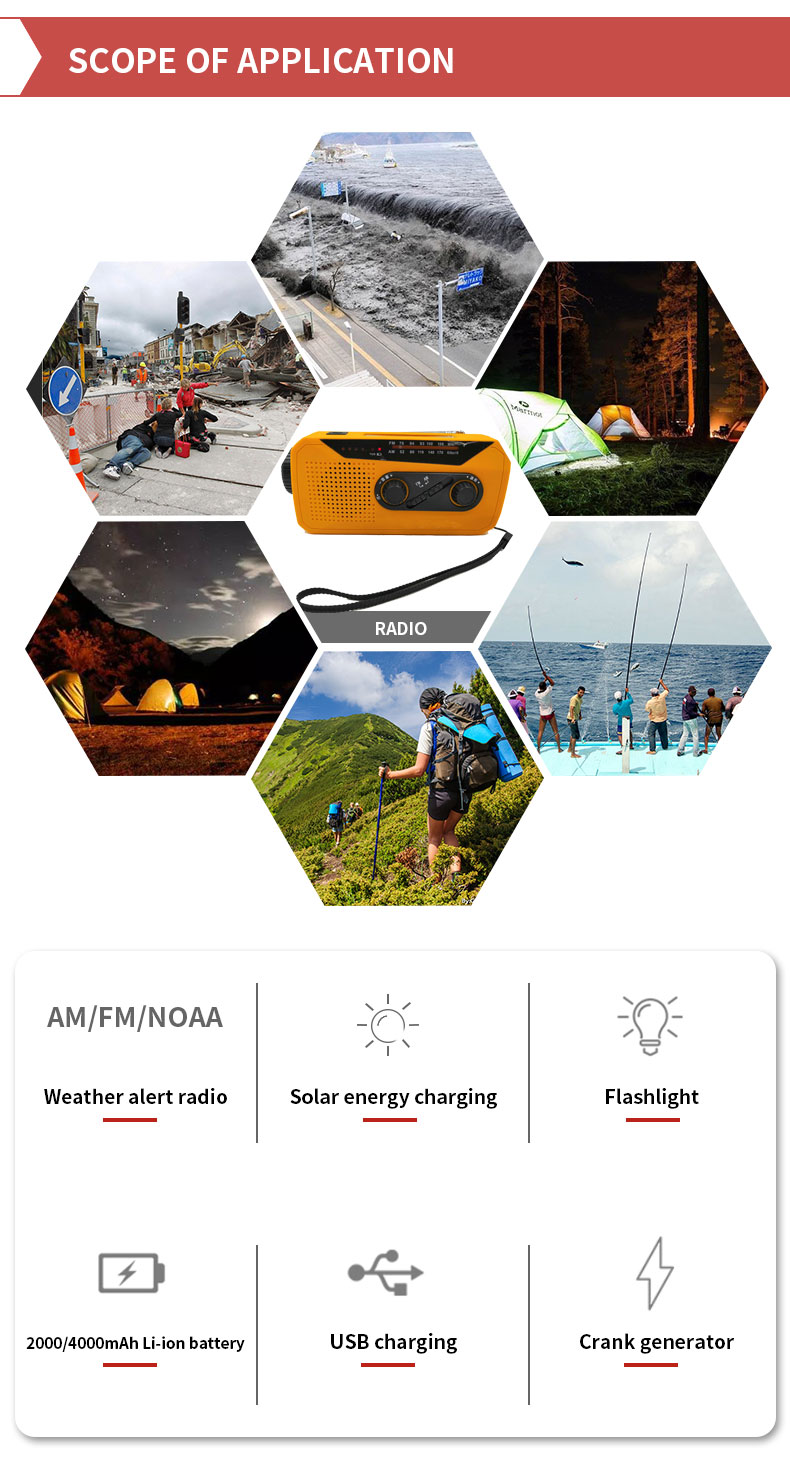 Dynamo Hand Crank Emergency Solar Power LED Flashlight 1W Torch + Charger + AM/FM Radio