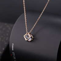 Korea Cube Titanium Steel Rose Gold Diamond Pendant Necklace Women