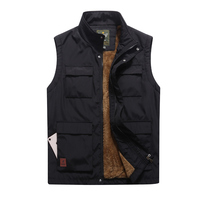 9807 Outer Wear Solid Color Waterproof Windproof Keep Warm Winter Cotton Vest Men