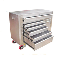 Customized 6 drawers CNC shearing aluminum stainless steel tool box with wheels