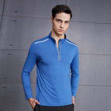 Mens <strong>Sports</strong> Top Half Zip Reflective Workout GYM Long Sleeve Shirt Solid Custom Tshirt