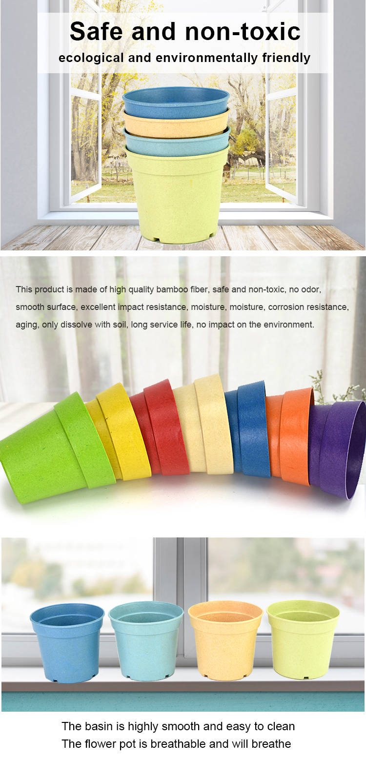 eco-friendly biodegradable bamboo fiber different types garden planters flower pot