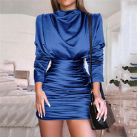 Long Sleeve Slit Back Ruched Party Dress Women Silky Clubnight Bodycon Dress Full Sleeve Pleated Dress Autumn Vestidos Mujer