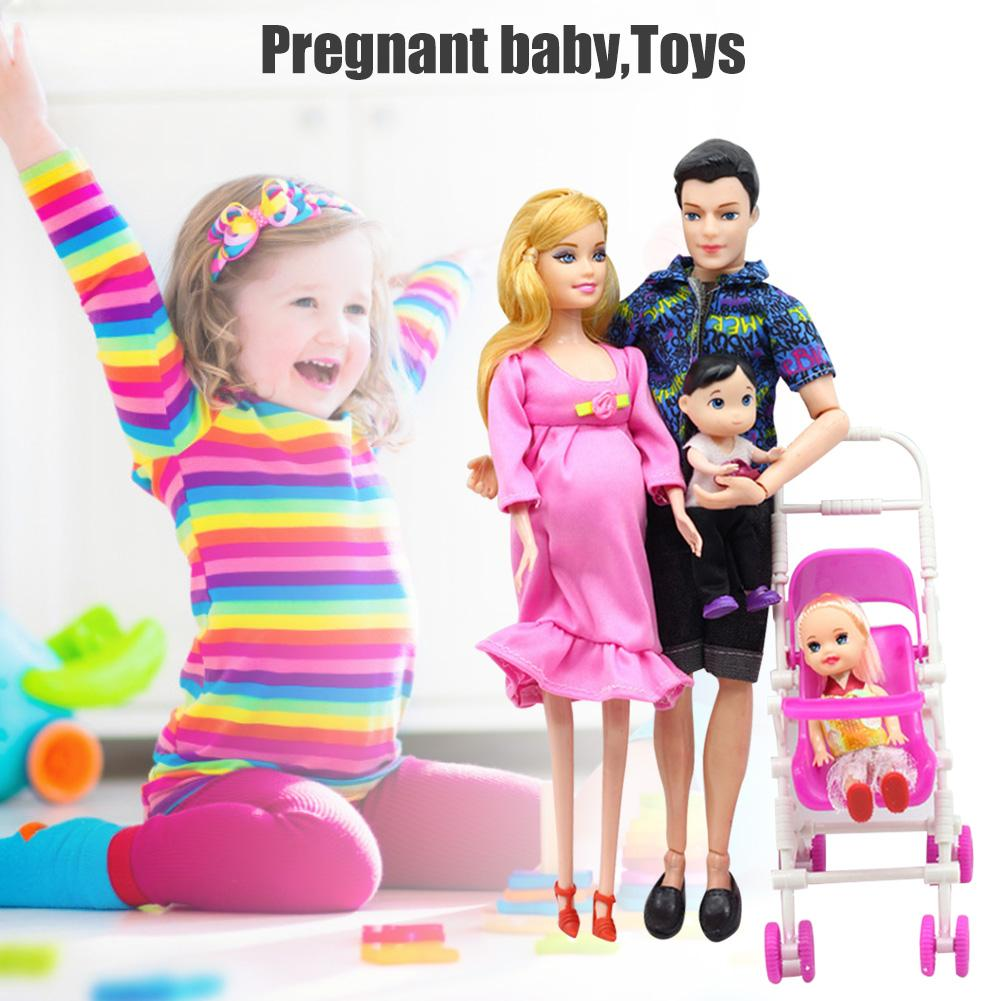 Family doll dad and pregnant mom and 1 daughter and 1 son and 1 baby boy perfect pregnant doll toy gift