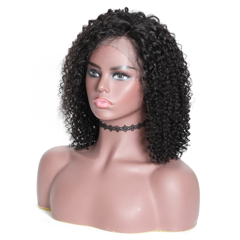 Wholesale 150 heavy density Brazilian human hair 14inch short afro kinky curly lace front wig black women