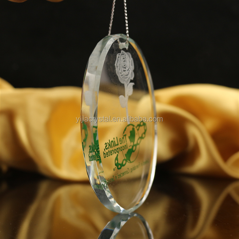 Factory Price Crystal Pendant With Flower Sandblasted